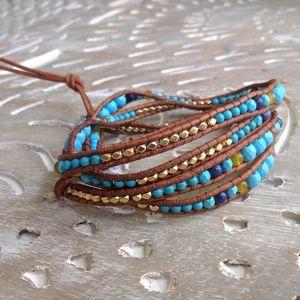 Sundance Catalog Leather Turquoise Wrap Bracelet